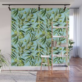 mediterranean summer olive branches on turquoise Wall Mural