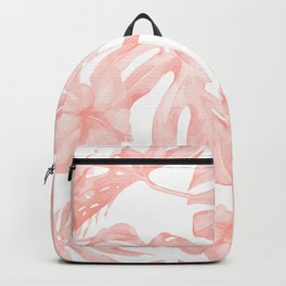 Tropical Palm Leaves Hibiscus Flowers Coral Pink Backpack