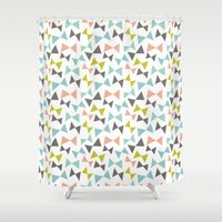 bows Shower Curtains featuring Spring bows by Demi Goutte