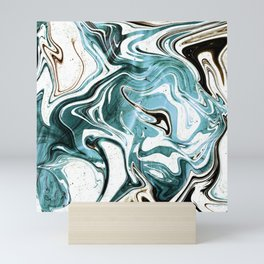Liquid Teal Marble Mini Art Print