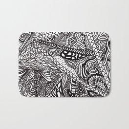 Black white Abstract Paisley doodle geometric pattern Bath Mat