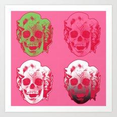 4 Marilyn Skullfaces In Pink Art Print