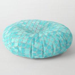 Teal Mermaid Scales Floor Pillow