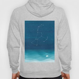 Orion Constellation, teal ocean sailboat illustration Hoody