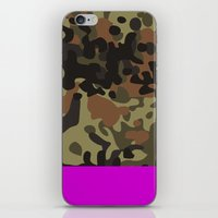 david fleck iPhone & iPod Skins featuring Magenta Fleck Tarn Camo by Derek Boman