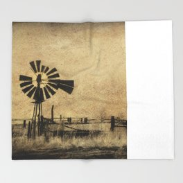 Old Windmill • Sepia • Western • Infrared • Texture Throw Blanket