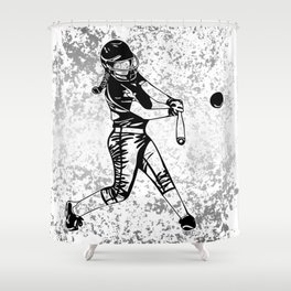 Girl Power- Women's Softball Silhouette on Silver Flake Shower Curtain
