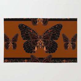 BLACK  MONARCH BUTTERFLIES,COFFEE BROWN-BURGUNDY ART Rug