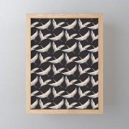 delicate japanese cranes pattern Framed Mini Art Print