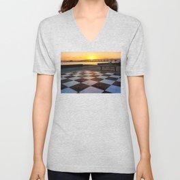 Checkerboard Sunset Unisex V-Neck