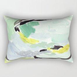 Twirl Green: Abstract Painting Rectangular Pillow