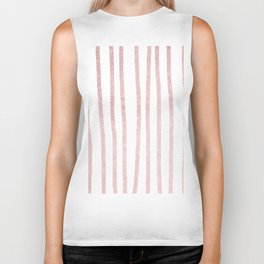 Simply Drawn Vertical Stripes in Rose Gold Sunset Biker Tank