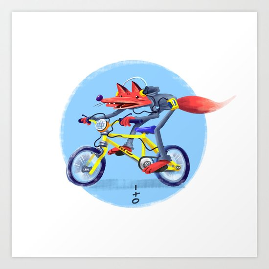 fox bike Art Print