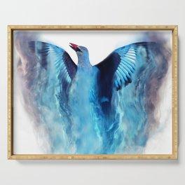 Blue bird in flight Serving Tray
