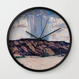 Cloudburst at Black Mesa, New Mexico Vintage Painting Wall Clock