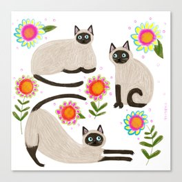 Siamese Cats and flowers Canvas Print