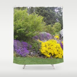 Beautiful Landscape With Purple and Gold Flower, Lush Landscape, Green Shower Curtain
