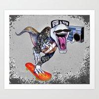 trex Art Prints featuring TRex Hipster Dufus by Designer R.M.D
