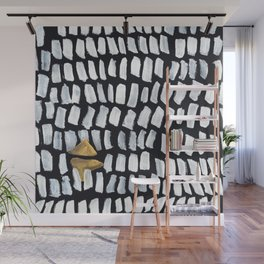 HARVEST Vietnam Abstract Painting Asia Paddy Field Farmer on Black Wall Mural