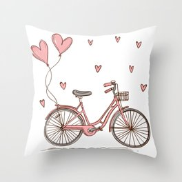 Retro vintage bicycle print with heart shaped balloons Throw Pillow