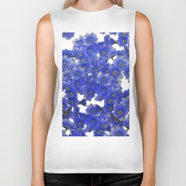 Little Blue Flowers on White Biker Tank