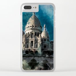 Sacré Coeur Watercolor Clear iPhone Case