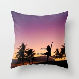 Girl dancing Beautiful sky after sunset Oahu Hawaii Nature Landscape Travel Photography Wall Art Decor Throw Pillow