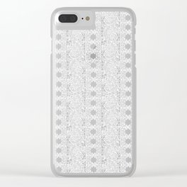 Lacey Lace - White Teal Clear iPhone Case