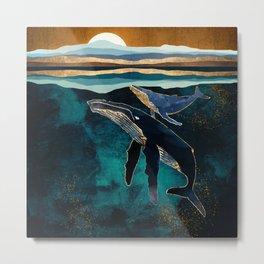Moonlit Whales Metal Print