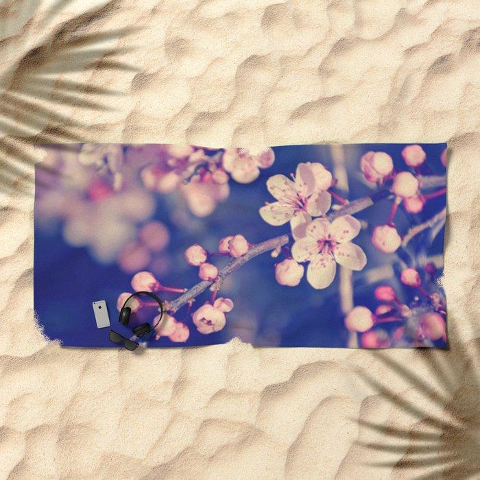 Gentle Rose Cherry Blossom Beach Towel
