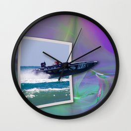 Offshore Addiction Speeds Out Of Frame Wall Clock