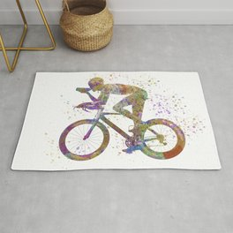 Cyclist competing 01 in watercolor Rug