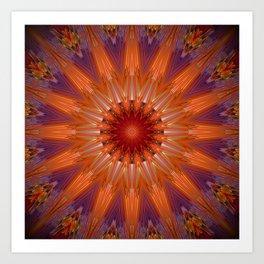 Vibrant Purple Orange Mandala Design Art Print