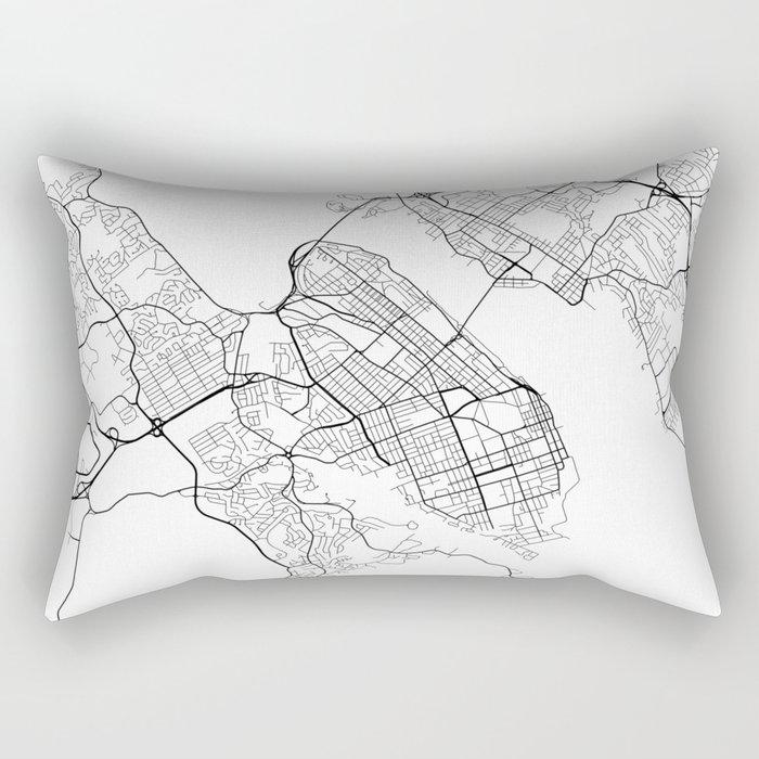 Halifax Map, Canada - Black and White Rectangular Pillow