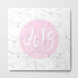 2019 Pink & Marble Metal Print