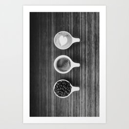 Three Coffee (Black and White) Art Print