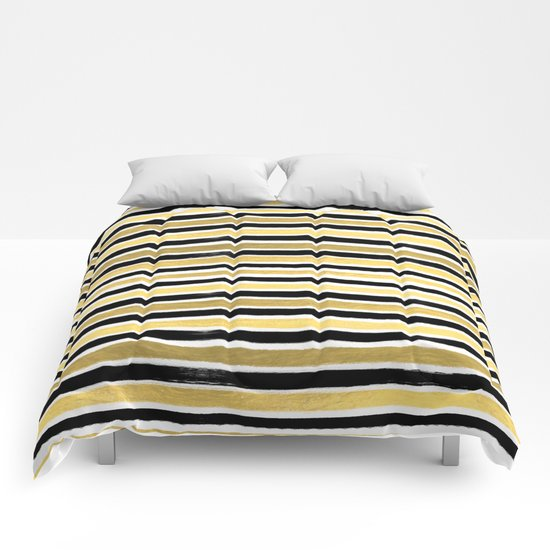 Black and white gold stripes modern brushstrokes minimal art print abstract painting gold foil Comforters