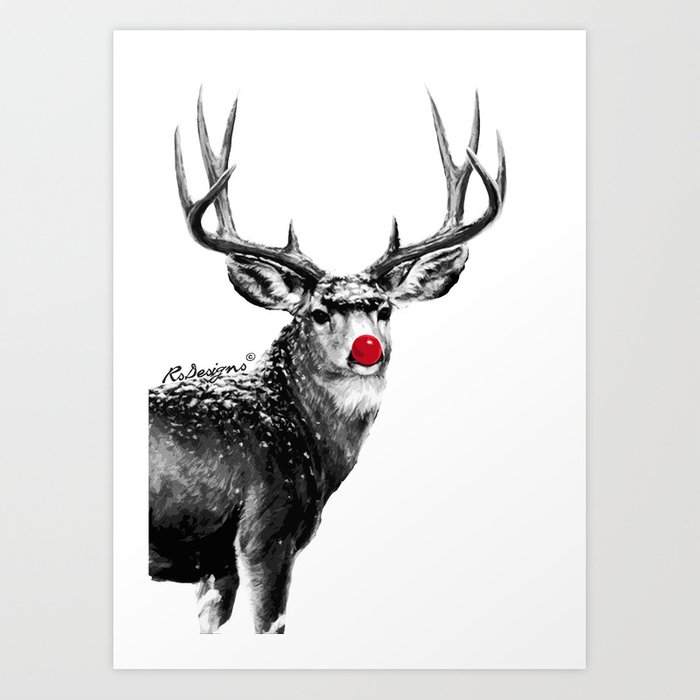 Christmas red nose reindeer art print