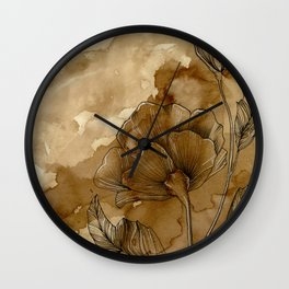 Coffee stained Roses Wall Clock