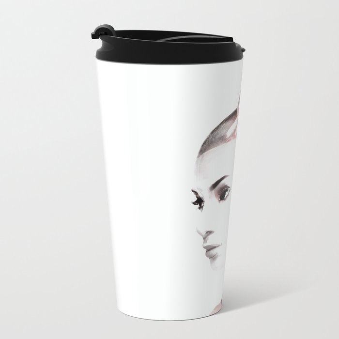 Woman with butterfly Metal Travel Mug