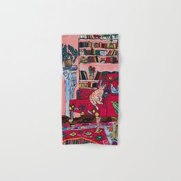Ginger Cat in Embroidered Red Armchair with Staffordshire Spaniel in Book-Lined Room Interior Painting Hand & Bath Towel