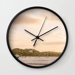 Soft sunset at the beach    Ocean, sea, shore, coast, sand, summer, dunes    Color travel photography digital fine art photo print Wall Clock