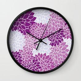 purple flowers pattern Wall Clock
