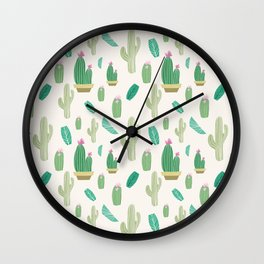 Ivory pastel blush green pink cactus floral Wall Clock