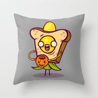 bread Throw Pillows featuring Corny Bread by Artistic Dyslexia