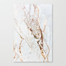 Gold Grey and White Sparkle Marble Canvas Print