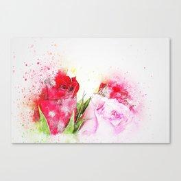 Flowers Roses Wedding watercolor Canvas Print