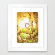 Babu at the Torii Framed Art Print