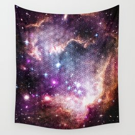 Sacred Nebula Flower Of Life Wall Tapestry
