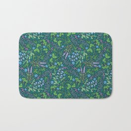 Lavender and lupine with cornflowers on herbal background Bath Mat